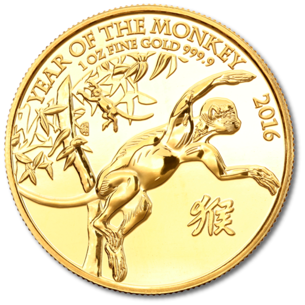 UK Lunar Year of the Monkey, 1oz Gold, 2016(Front)