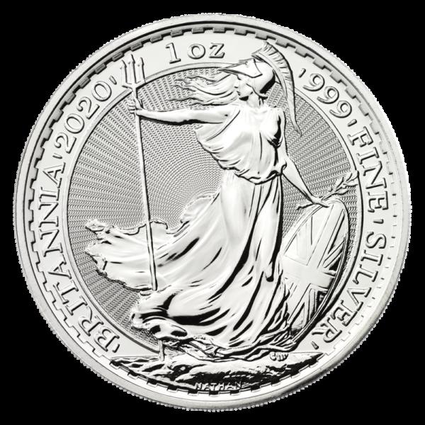 1 oz Britannia Silver Coin (2020)(Front)
