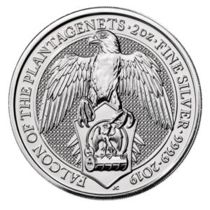 queens beast Falcon 10 oz silver coin front