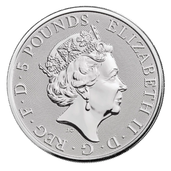 queens beast Falcon 10 oz silver coin back