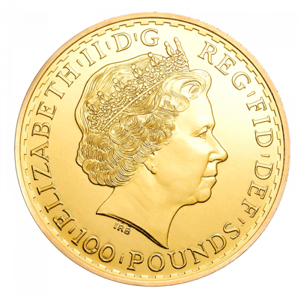 Britannia, 100 Pounds, 1oz Gold, mixed years(Back)