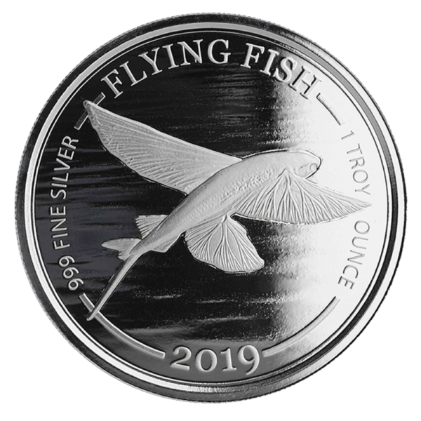 1 oz Flying Fish Silver Coin (2019)(Front)