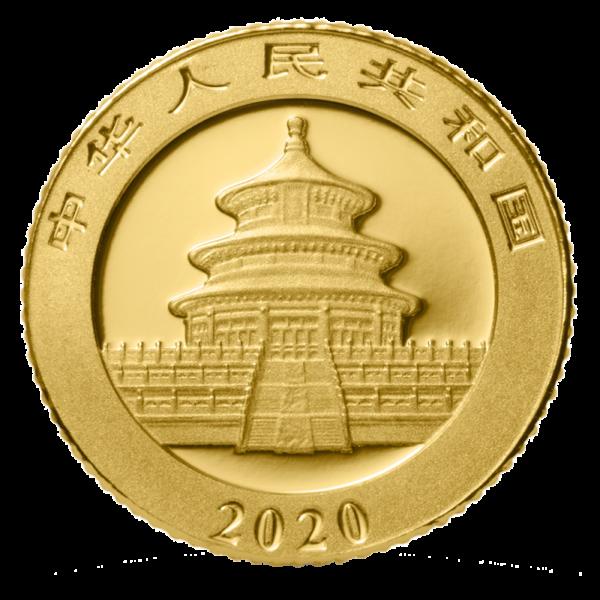 1g China Panda 2020 Gold Coin(Back)