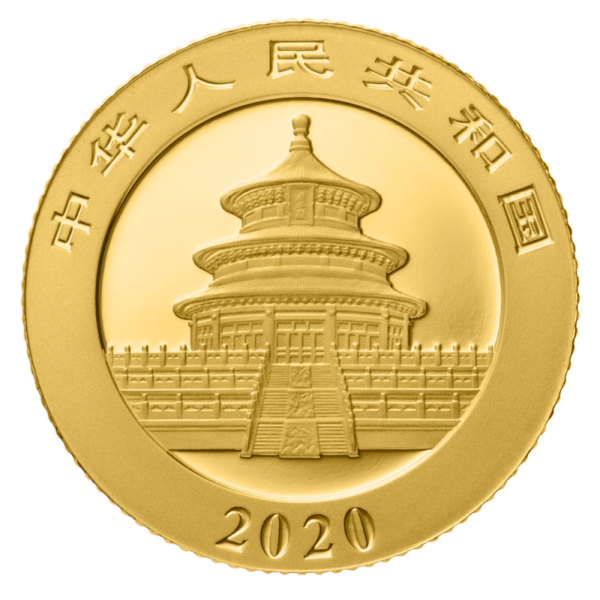 3g China Panda 2020 Gold Coin(Back)