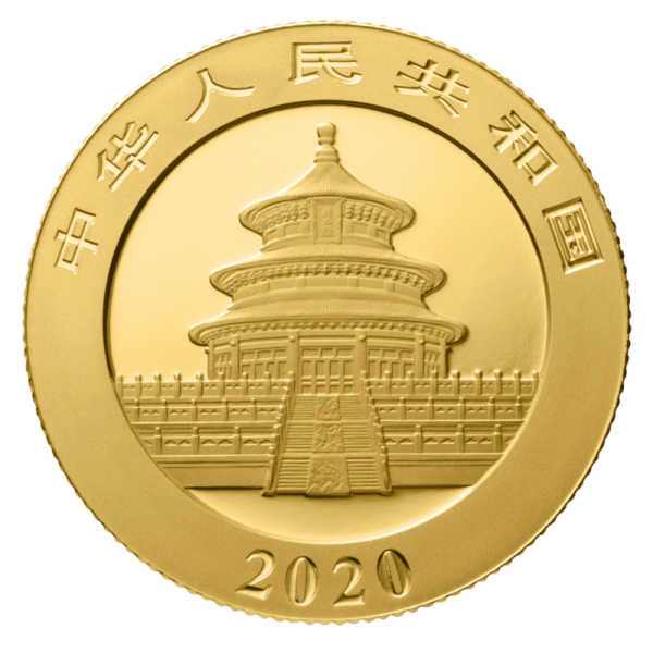 8g China Panda 2020 Gold Coin(Back)