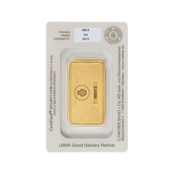 1 oz Hafner Gold Bar | C.Hafner(Back)