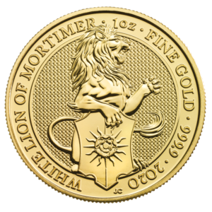 1 oz Queen's Beasts White Lion Gold Coin (2020)(Front)