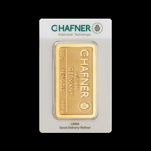 100g Hafner Gold Bar minted (C.Hafner)(Front)