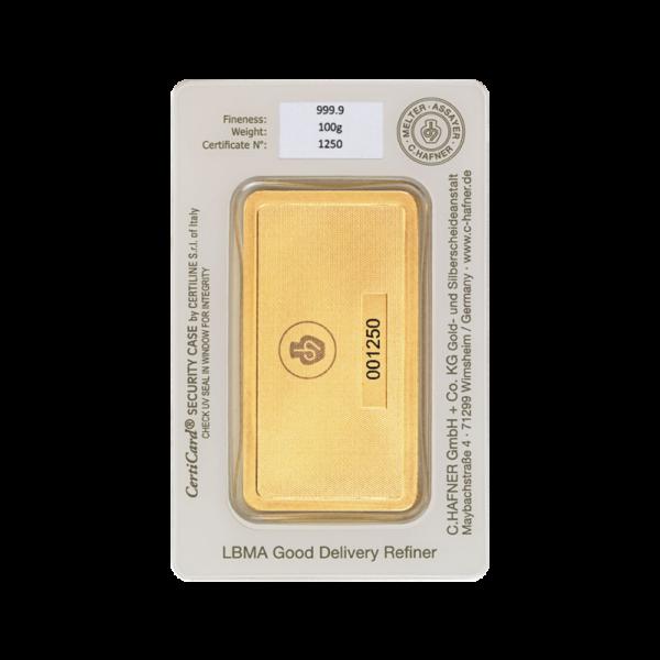 100g Hafner Gold Bar minted (C.Hafner)(Back)
