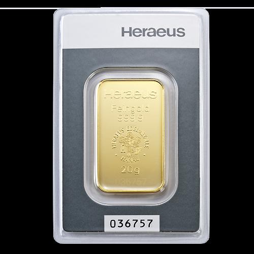 20g Argor Heraeus Gold Bar(Front)
