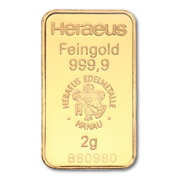2g Argor Heraeus Kinebar Gold Bar(Back)
