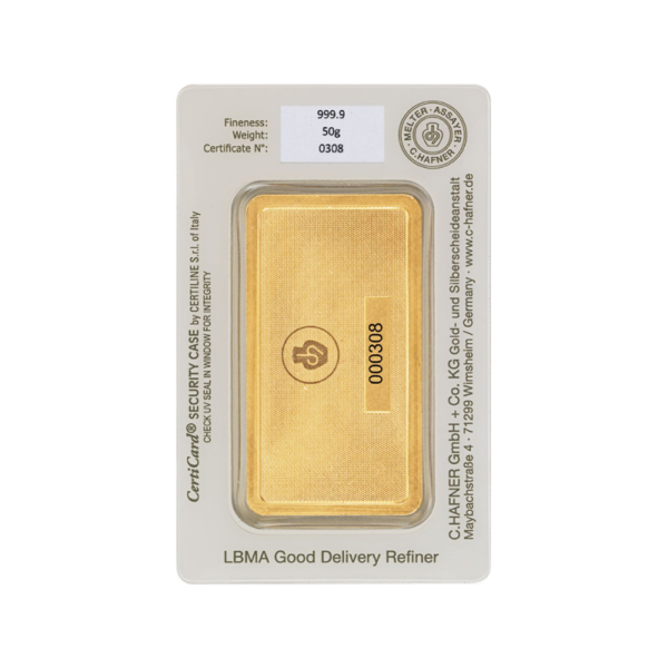 50g Hafner Gold Bar | C.Hafner(Back)
