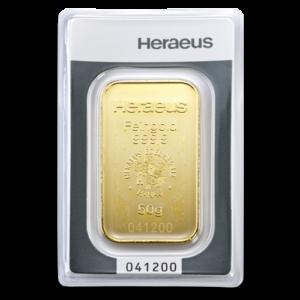 50g Argor Heraeus Gold Bar(Front)