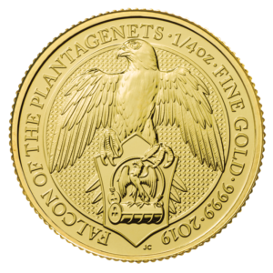 1/4 oz Queen's Beasts Falcon Gold Coin (2019)(Front)