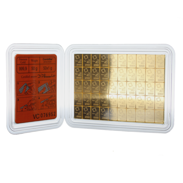 50g Gold Bullion | 50gr Gold Bar | CombiBar(Front)
