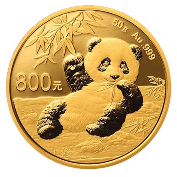 50g China Panda Proof Gold Coin (2020)(Front)