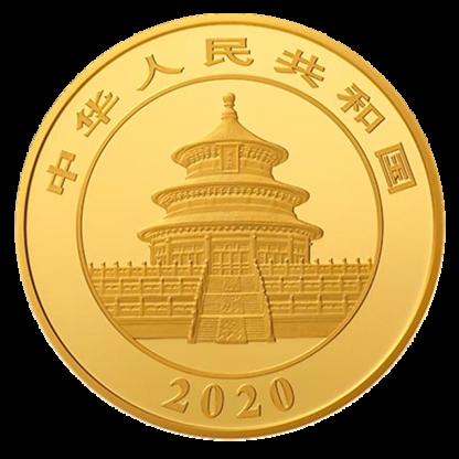 50g China Panda Proof Gold Coin (2020)(Back)