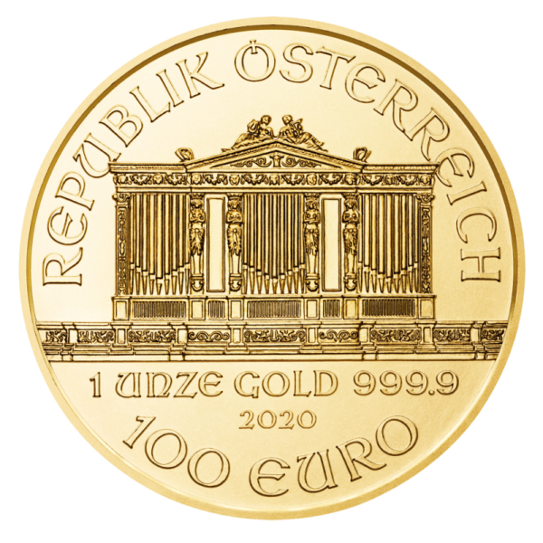 1 oz Vienna Philharmonic 2020 Gold Coin(Back)
