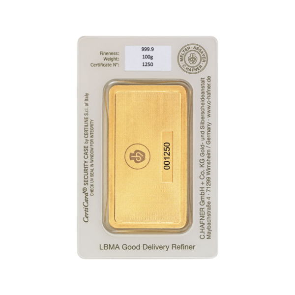 100g Hafner Gold Bar minted (C.Hafner)(Back)