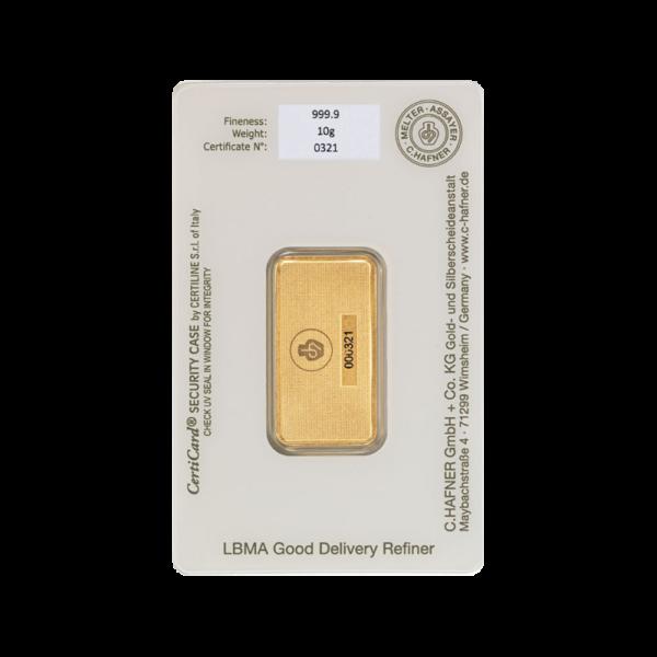 10g Hafner Gold Bar (C.Hafner)(Back)