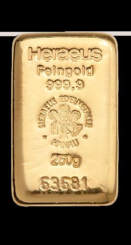 250g Argor Heraeus Gold Bar(Front)