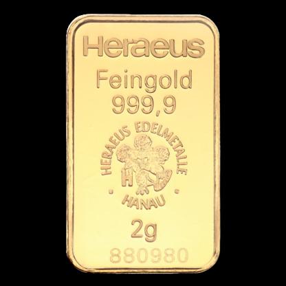 2g Argor Heraeus Kinebar Gold Bar(Back)