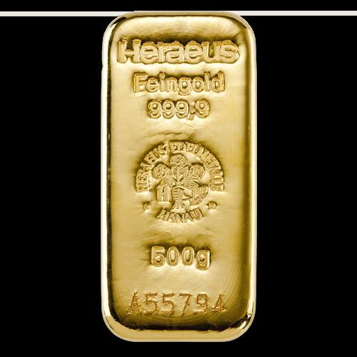 500g Argor Heraeus Gold Bar(Front)