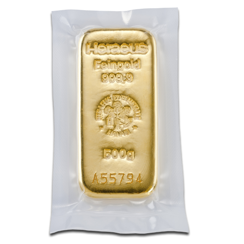 500g Argor Heraeus Gold Bar(Back)