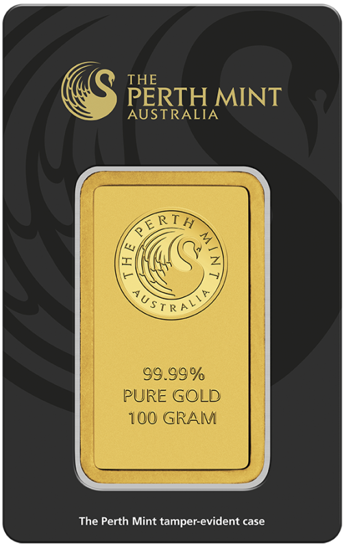 100g Gold Bullion | Perth Mint Gold Bar with Certificate(Front)