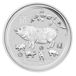 1/2 oz Lunar II Pig Silver Coin (2019)(Front)