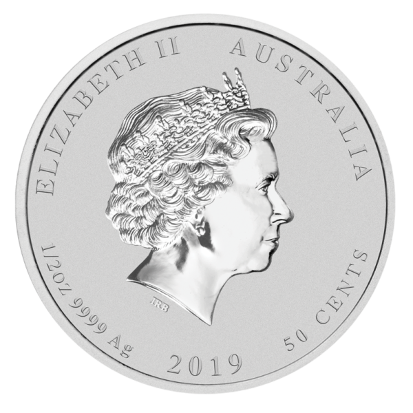 1/2 oz Lunar II Pig Silver Coin (2019)(Back)