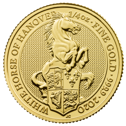 1/4 oz Queen's Beasts White Horse of Hanover Gold Coin (2020)(Front)