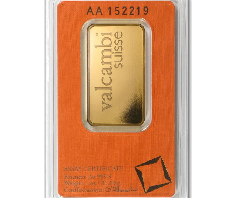 1 oz Gold Bar – Valcambi (In Assay)