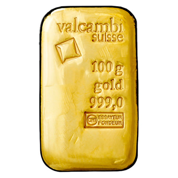 100g Gold Bar casted (Valcambi)(Front)