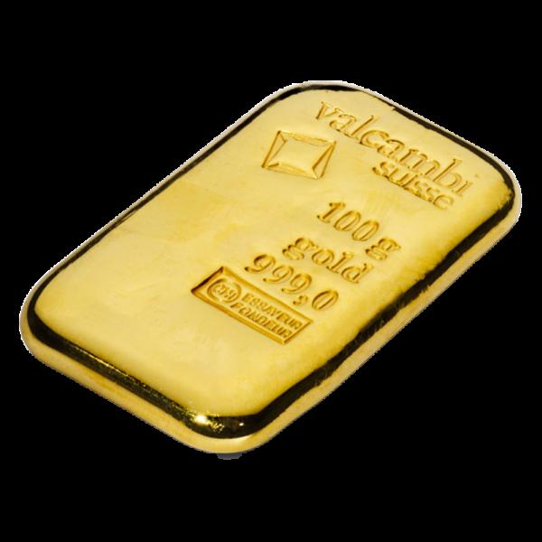 100g Gold Bar casted (Valcambi)(Back)