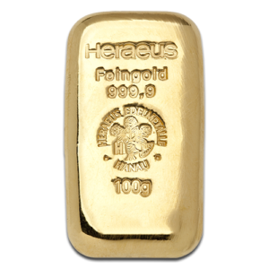 100g Gold Bullion | Heraeus Gold Bar | casted(Front)