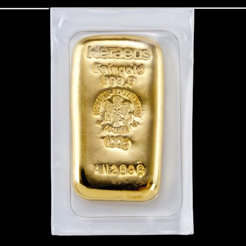 100g Gold Bullion | Heraeus Gold Bar | casted(Back)