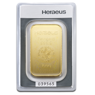 100g Argor Heraeus Gold Bar | minted(Front)