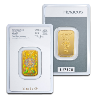 10g Gold Bullion | Heraeus Kinebar Gold Bar(Front)