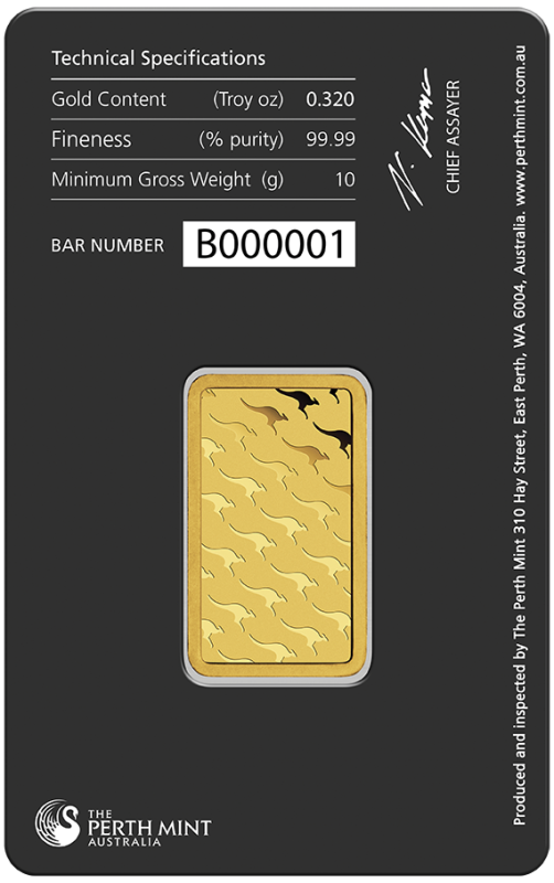 10g Gold Bullion | Perth Mint Gold Bar with Certificate(Back)