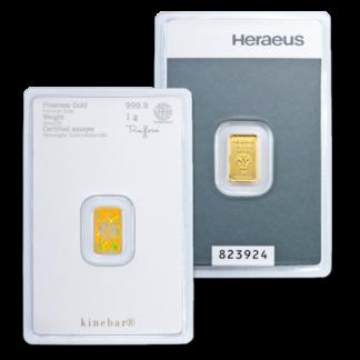 1g Argor Heraeus Kinebar Gold Bar(Front)