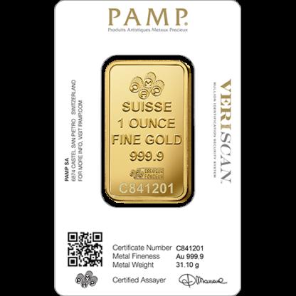 1 oz Gold Bar   PAMP Fortuna(Back)