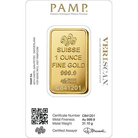 1 oz Gold Bar | PAMP Fortuna(Back)