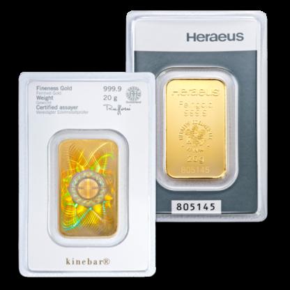20g Argor Heraeus Kinebar Gold Bar(Front)