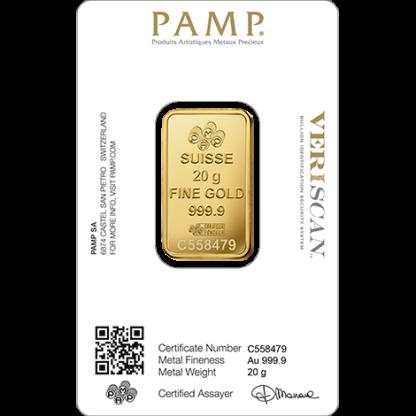 20g Gold Bar | PAMP Fortuna(Back)