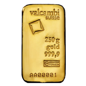250g Gold Bar | Valcambi(Front)