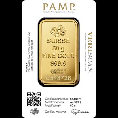 50g Gold Bar | PAMP Fortuna(Back)
