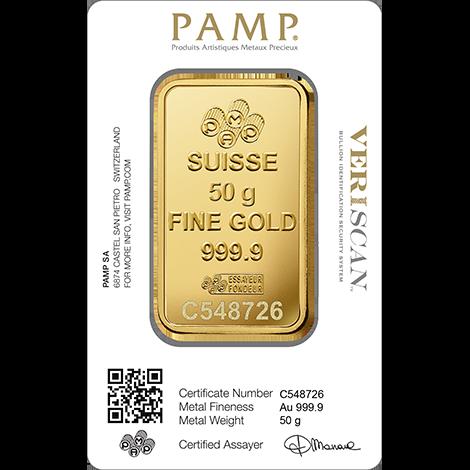 50g Gold Bar   PAMP Fortuna(Back)