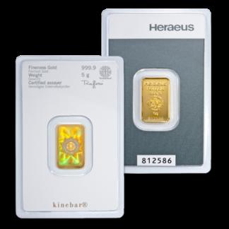 5g Argor Heraeus Kinebar Gold Bar(Front)