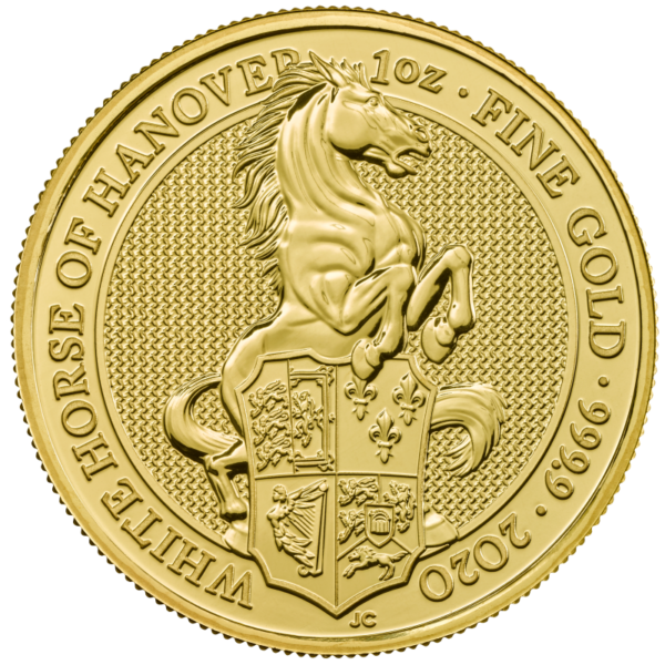 1 oz Queen's Beasts White Horse of Hanover Gold Coin (2020)(Front)